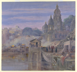 'The Burning Ghats.  Benares.  India.  October 1878'